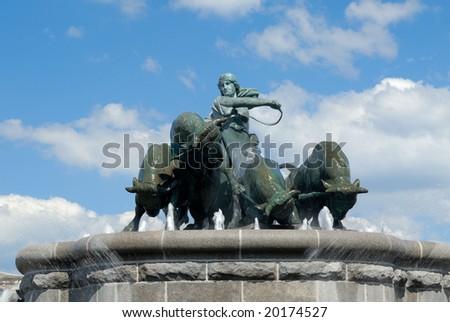 "The Gefion fountain in the public area around ""Kastellet"" in Copenhagen. - stock photo"