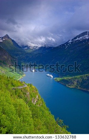 The Geiranger Fjord in Norway - most visited tourist sites  listed as a UNESCO World Heritage - stock photo