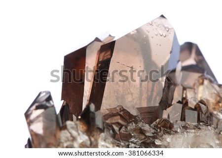 the gemmy smoky quartz on white background/the gemmy smoky quartz on white background - stock photo