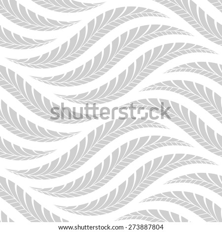 The geometric pattern by leaves. Seamless background. Gray and white texture. - stock photo