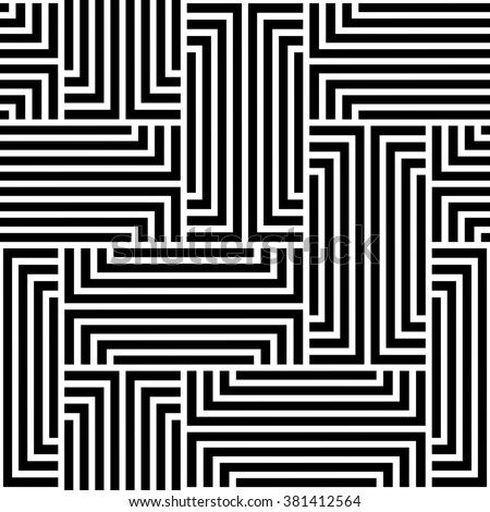 The geometric pattern by stripes. Seamless background. Black and white texture. - stock photo