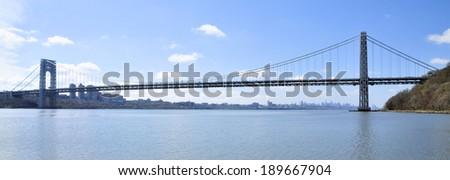 The George Washington Bridge from New Jersey / The George Washington Bridge - stock photo