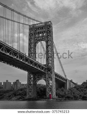 The George Washington Bridge toward Manhattan/Little Red Lighthouse/Scale Play
