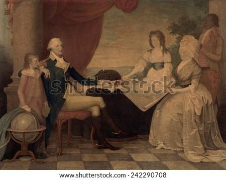 The George Washington family. Washington, his wife Martha with their two of their four grandchildren, George Washington Park Custis (1780-1857) and Eleanor Custis (1756-1773). by E. Savage 1798. - stock photo