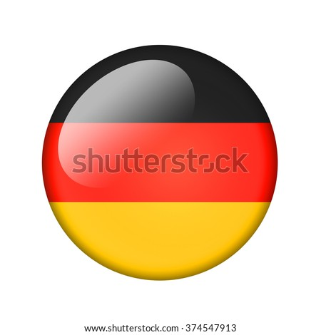 The German flag. Round glossy icon. Isolated on white background.