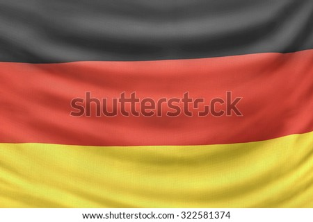 The German national Flag. Symbol of the European country of Germany.
