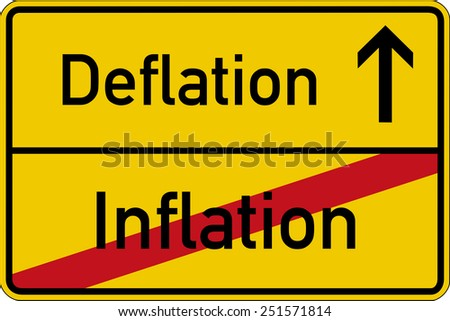 The German words for inflation and deflation (Inflation and Deflation) on a road sign - stock photo