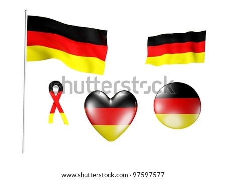The Germany flag - set of icons and flags on white background
