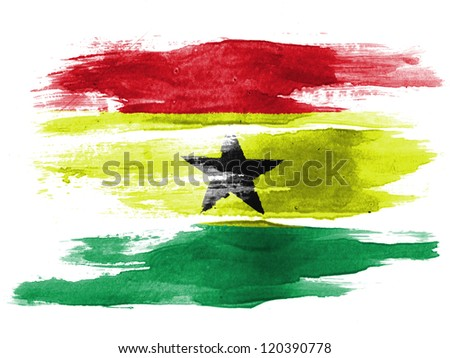 The Ghana flag painted on  white paper with watercolor - stock photo