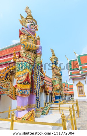 The giant at Wat  Pha Kaeow temple in Bangkok , Thailand.