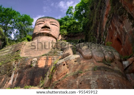 the giant buddah of leshan sichuan province china - stock photo