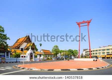 The giant swing (Sao Ching Cha) and Wat Suthat temple in Bangkok, Thailand