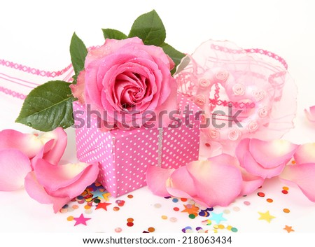 the gift box and a rose - stock photo