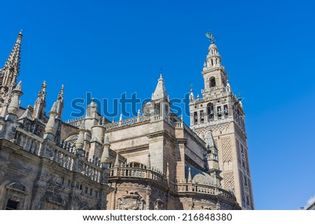 The Giralda (La Giralda), a former minaret converted to a bell tower for the Cathedral of Seville in Seville, Andalusia, Spain.