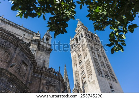 The Giralda (La Giralda), a former minaret converted to a bell tower for the Cathedral of Seville in Seville, Andalusia, Spain. - stock photo