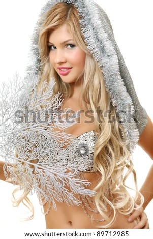 The girl and New Year's ornaments - stock photo