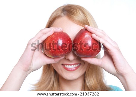 The girl and two apples - stock photo