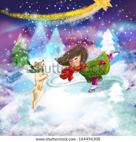 The girl at the skating rink in the snowy night with pets - stock photo