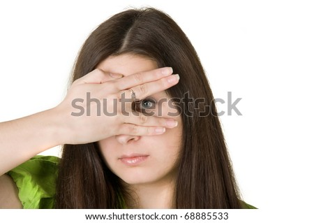 the girl closed one eye hand