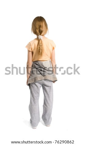 The girl costs a back to the spectator - stock photo