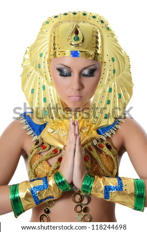 The girl-dancer in costume of the Pharaoh - stock photo