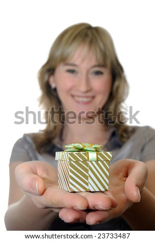 The girl gives a gift in packing. Isolate on white - stock photo
