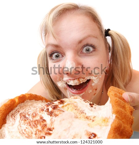 The girl greedy eats sweet pie. Weight loss concept. - stock photo