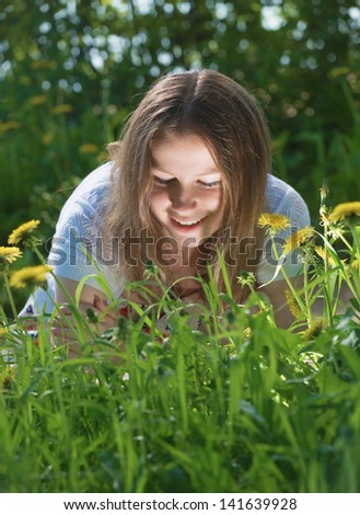 The girl has found light in a grass