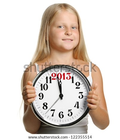 The girl hold in hands a big clock with figures 2013. It is isolated on a white background - stock photo