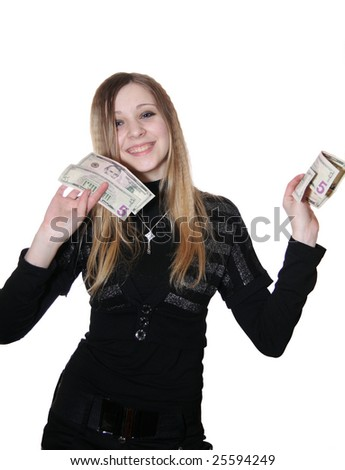 The girl holds money in hands