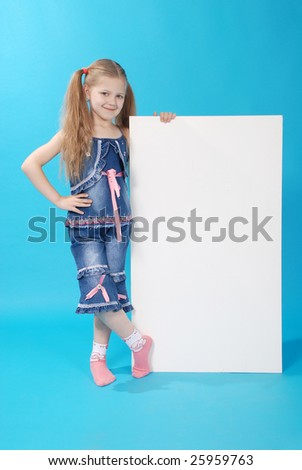 The girl holds white board - stock photo