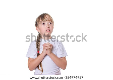 The girl in a white undershirt prays having opened a mouth