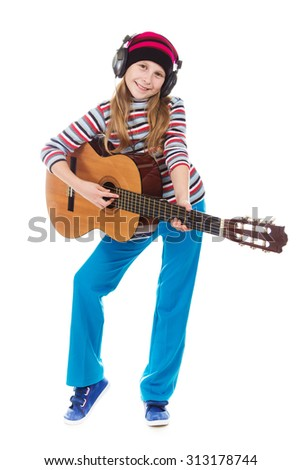 The girl in headphones with a guitar on a white background. - stock photo