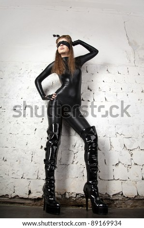 The girl in latex - stock photo