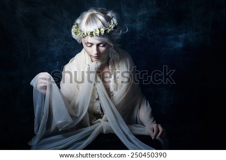 the girl in sorrow - stock photo
