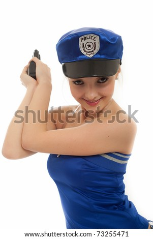 The girl in the form of the policeman - stock photo