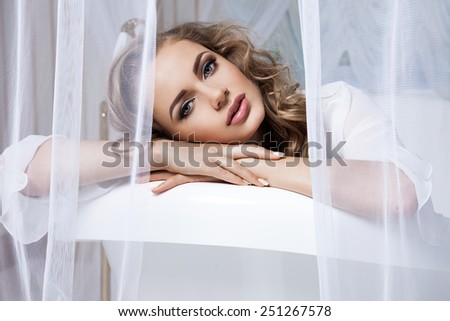 the girl in the room with bath - stock photo