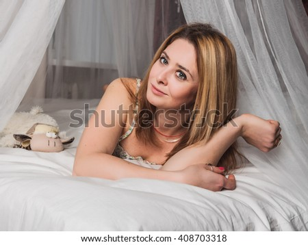 The girl on the bed