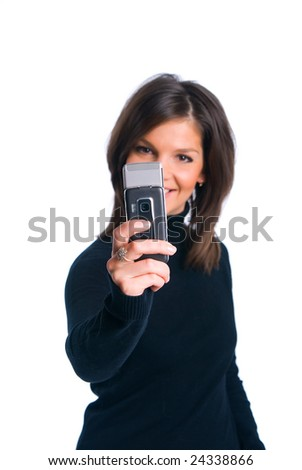 The girl photographing on phone - stock photo