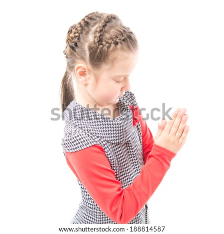 The girl prays on white background
