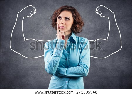 The girl represents in imagination what she strong - stock photo