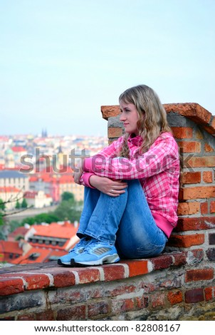 The girl sits on a brick wall and looks at a city - stock photo
