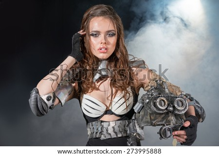 The girl soldier of the future - stock photo