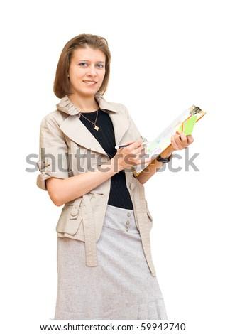 The girl the designer of an interior - stock photo