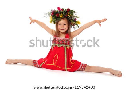 The girl the gymnast in a red dress shows exercise.isolated on white. - stock photo