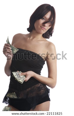 The girl undresses for money  on a white background - stock photo