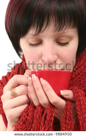 The girl which drinks from a red cup