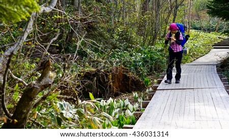 The girl who enjoys a hike while observing a skunk cabbage