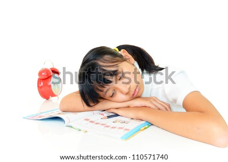 The girl who has?a doze - stock photo