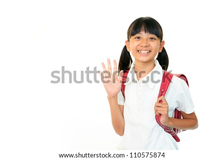 The girl who waves her hand - stock photo